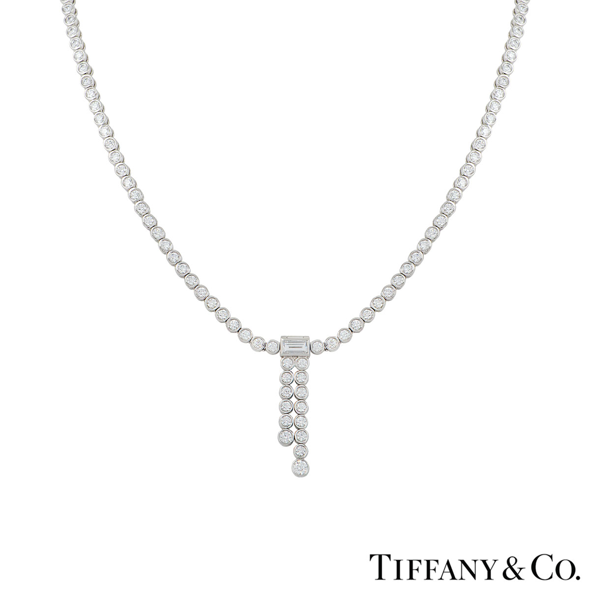 Tiffany & Co. Platinum Diamond Jazz Necklace